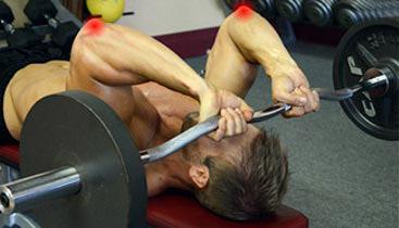 skull crusher elbow pain