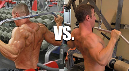 behind the neck pulldown vs in front