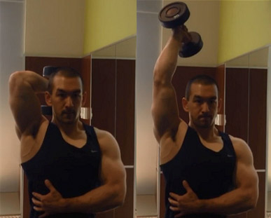 one arm overhead dumbbell extension