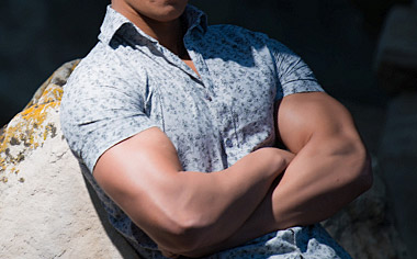 muscular in clothes